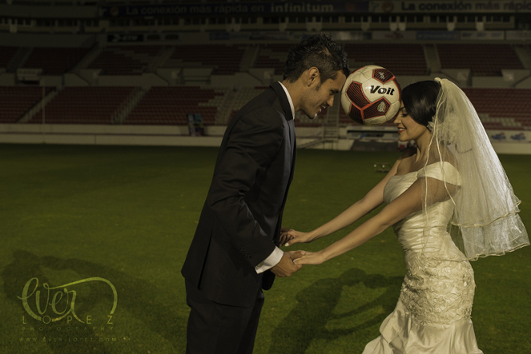 Mexican destination wedding photographer creative photos soccer engagement photos mexico